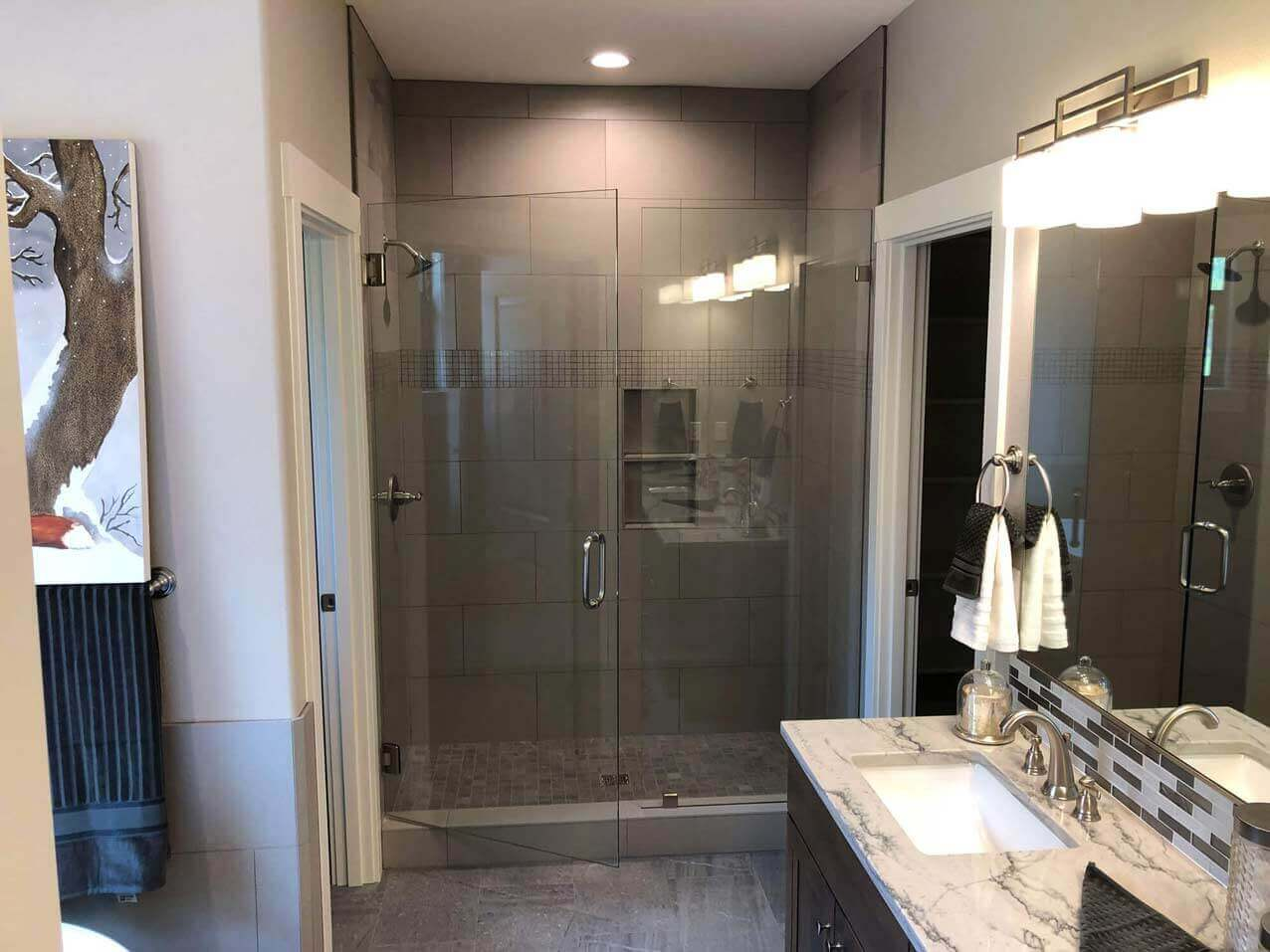 Contemporary Tile Shower Glass Doors